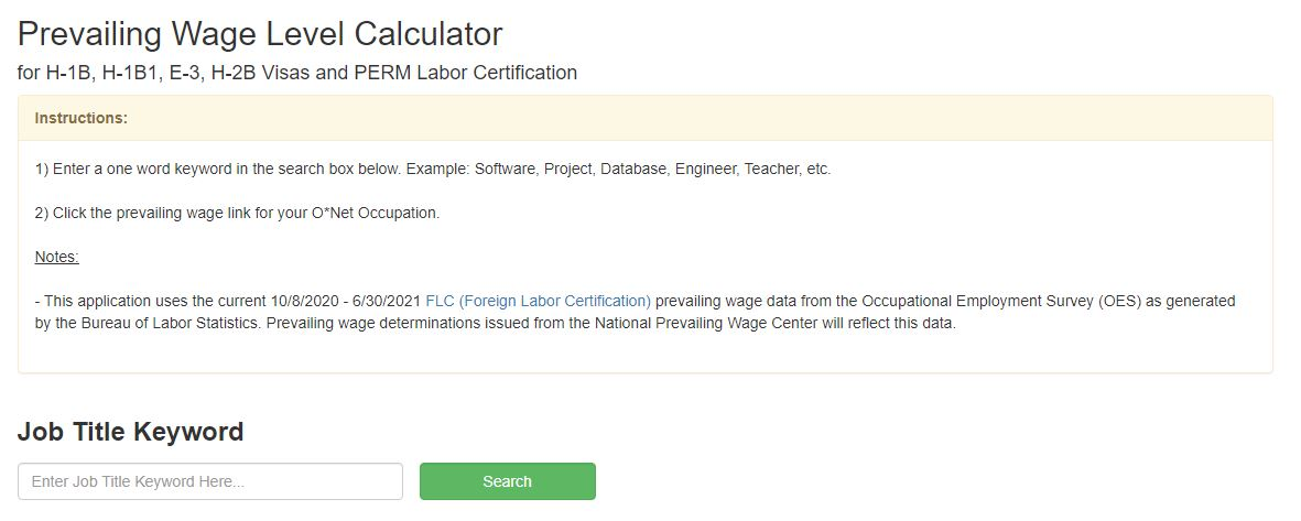 Prevailing Wage Level Calculator